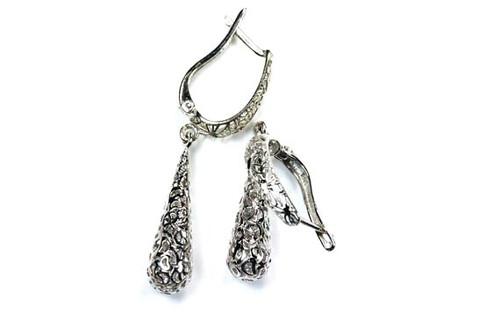Dangle Earrings Lattice 18K White Gold Unique