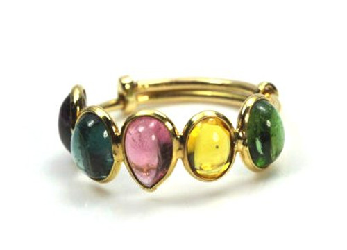 Mixed Color Natural Gemstone Ring, Stackable Ring
