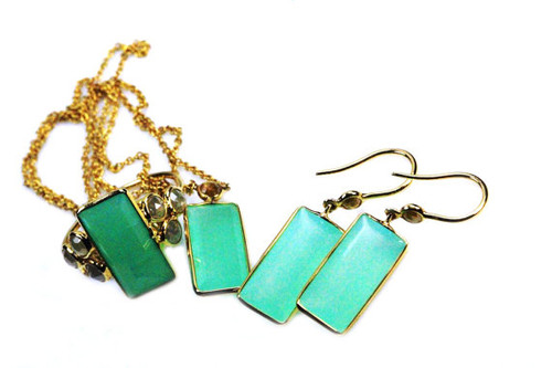 Chrysoprase Natural Gemstone Jewelry Set with Rose Cut Diamonds, Rose Cut Diamond Ring, Necklace, Earrings,