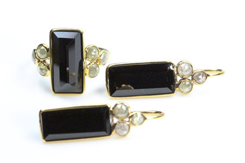 Blacks spinel gemstone natural jewelry set with with rose cut diamonds