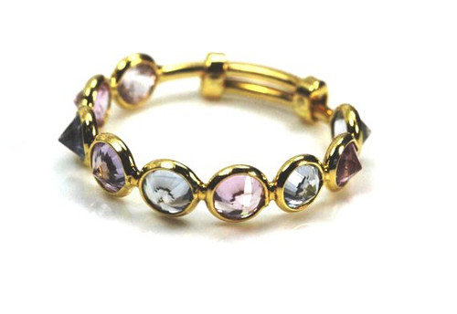 Mixed Color Amethyst and Topaz Natural Gemstone Stackable Ring