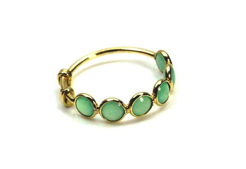 Chrysoprase Natural Gemstone Ring, Stackable Ring