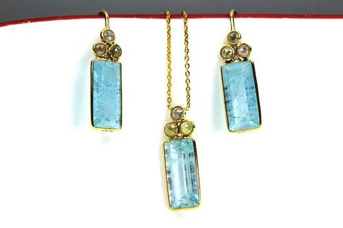 Rose Cut Diamonds and Blue Topaz Set, Fancy Rose Cut Diamonds Jewelry