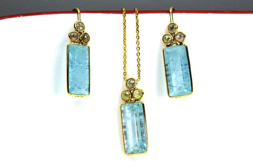 Rose Cut Diamonds and Blue Topaz Set, Fancy Rose Cut Diamonds Jewelry