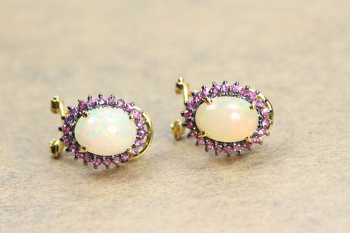 Natural Opal Earrings with Garnet Gemstone, Solid 18K Gold Earrings, Earrings