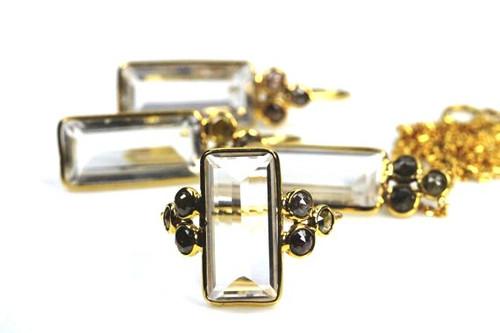 Natural Quartz & Fancy Rose Cut Diamonds Set in 18K Gold, Earrings, Necklace, Ring Set
