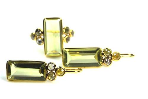 Lemon Quartz and Natural Diamonds Earrings and Rings Set, Antique Rose Cut Diamonds Set