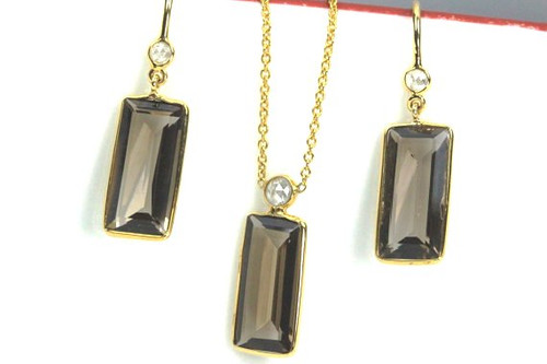 Natural Smokey Topaz and Fancy Color Rose Cut Diamonds Set of Earrings and Necklace in Solid 18K Gold