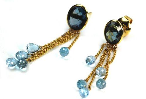 Natural Aquamarine and Blue Topaz Earrings Unique Design Solid 18K Gold