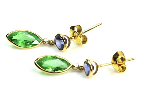 Natural Green & Blue Tourmaline and Diamond Earrings in Solid 18K Gold