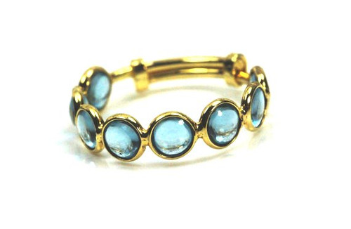 Aquamarine Ring, Stackable Ring, 18K Yellow Gold, Natural Gemstones