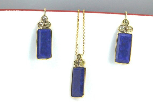 Natural Rare Lapis Gemstone Set with Rose Cut Fancy Color Diamonds