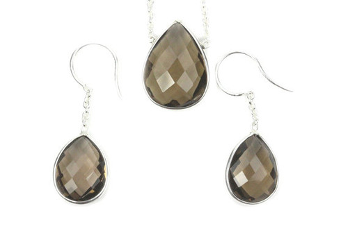 Beautiful Jewelry Set, Smokey Topaz Earrings and Necklace Set, Unique Design