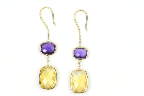 Yellow Citirine and Amethyst Earrings