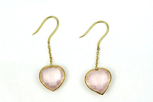 Rose Quartz Heart Shape Earrings