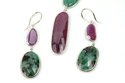 Necklace, Earrings, Jewelry Set, Natural Rubies and Emeralds Set
