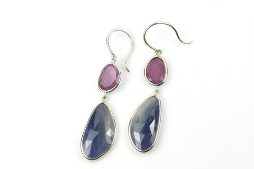 Natural Blue Sapphire Ruby Earrings