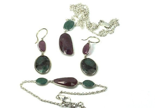 Ruby and Emerald Set, Earrings, Bracelet, Necklace