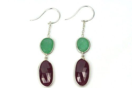 Earrings with Natural Ruby and Emeralds