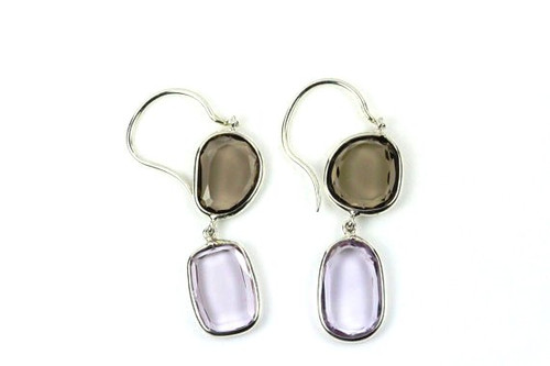 Blue Topaz and Amethyst Earrings