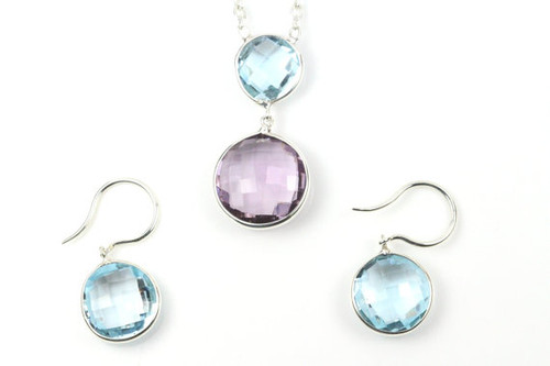 Antique Natural Blue Topaz and Amethyst Earrings and Necklace Set