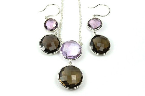 Necklace and Earrings with Natural Smoky Topaz and Amethyst