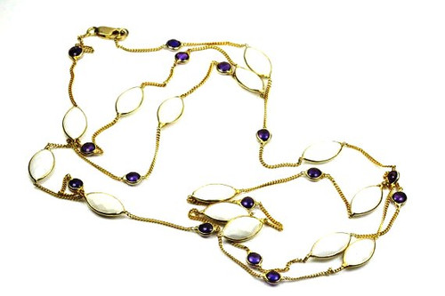 Long Necklace Amethyst Moonstone Gemstones