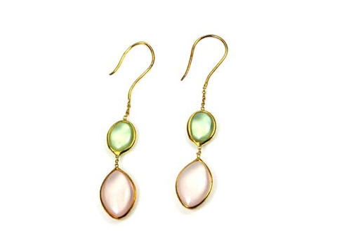 Beautiful Rose Quartz Prehnite Earrings