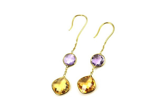 Beautiful Earrings with Natural Amethyst and Citrine