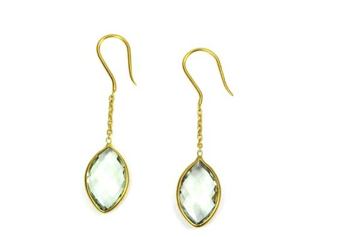 Earrings with Natural Green Amthyst