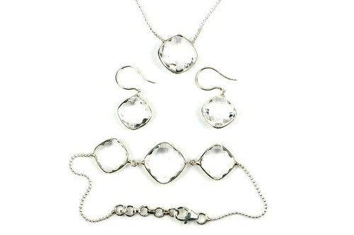 Beautiful Jewelry Set, Natural Crystal Quartz, Earrings, Necklace, Bracelet
