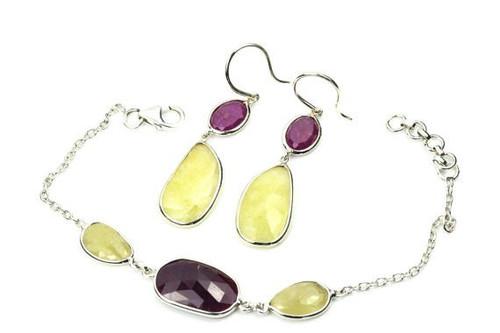 Ruby Moonstone Set, Beautiful Earrings and Bracelet Set