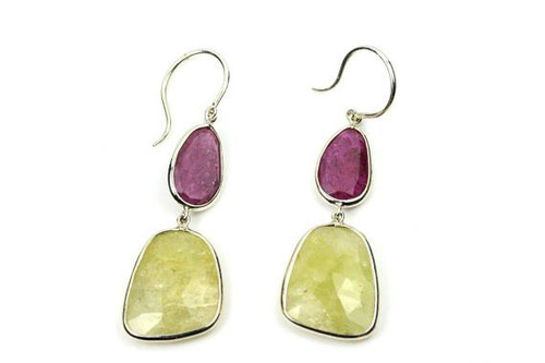 Antique Natural Gemstone Earrings, Moonstone and Ruby