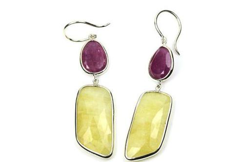 Natural moonstone ruby earrings
