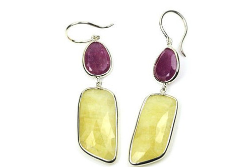 Natural moonstone ruby earrings