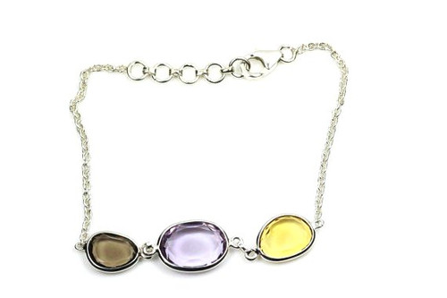 Beautiful Bracelet with Amethyst, Smoky Topaz and Citirine Natural Gemstones