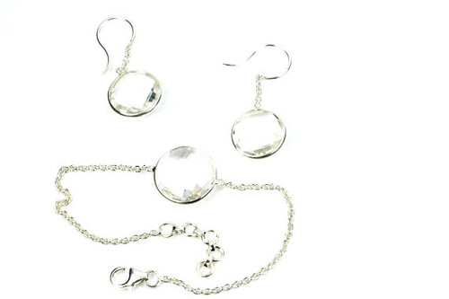 Natural Crystal Quartz Earrings and Necklace Set