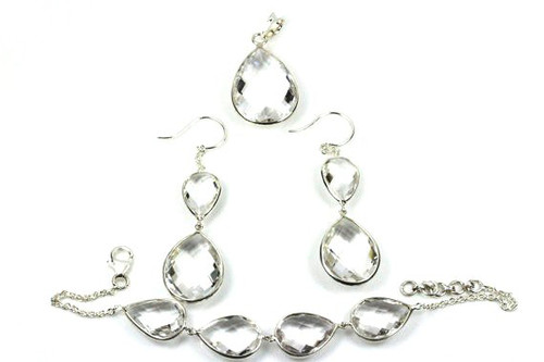 Natural Crystal Quartz Jewelry Set, Unique Crystal Pear Cut Earrings, Pendant, Bracelet