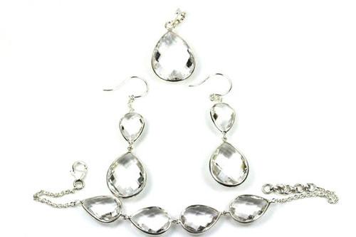 Natural Crystal Quartz Jewelry Set, Unique Crystal Pear Cut Earrings, Pendant, Bracelet
