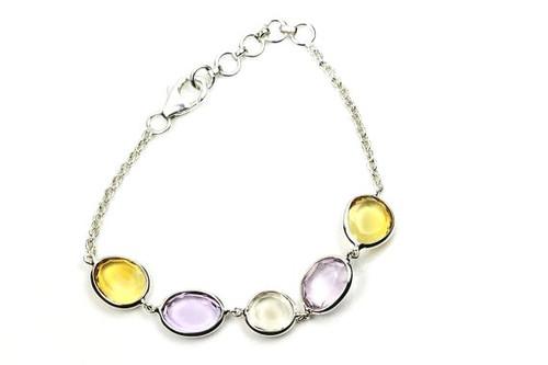 Bracelete Natural Amethyst and Topaz Gemstones in Sterling Silver