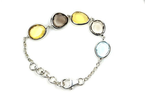 Children Teens Small Bracelet, Smoky Topaz Citrine Bracelet