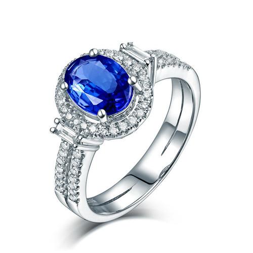 Tanzanite Oval Cut Ring AAAA Natural Diamonds