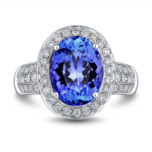 Unique Halo Oval Tanzanite Ring  AAAA With Natural Daimonds