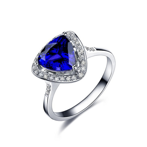 Heart Shape Tanzanite Halo Ring AAAA With Natural Diamonds