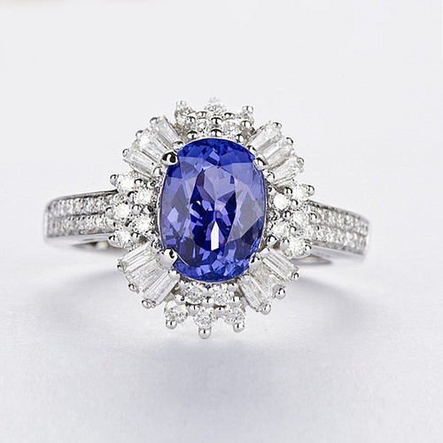Oval Cut Antique Tanzanite Ring