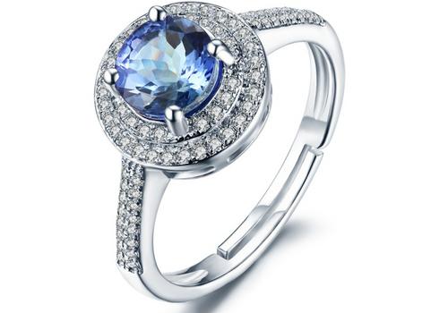 Halo Round Tanzanite Diamod Ring AAAA Natural Diamonds