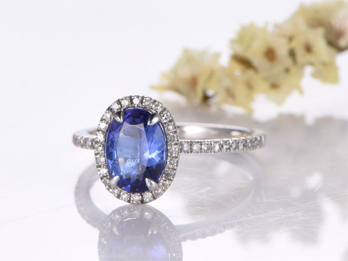 Tanzanite Ring Oval AAAA with Natural Diamonds
