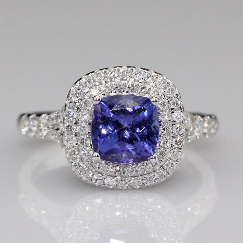 Halo Cushion Tanzanite Ring with Natural Diamonds and AAAA Tanzanite