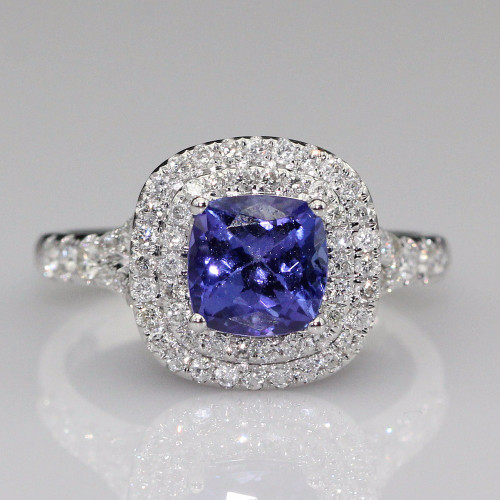 Halo Cushion Tanzanite Ring with Natural Diamonds and AAAA Tanzanite