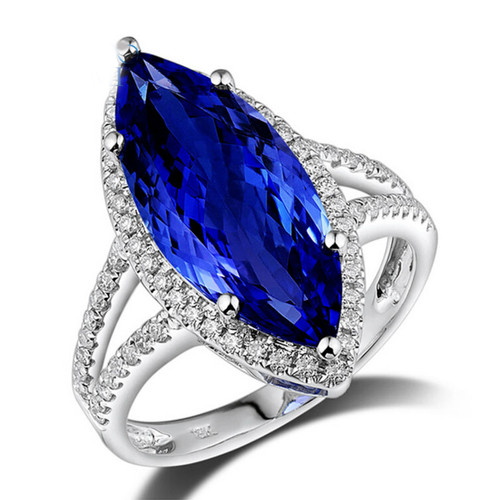 Antique Marquise Halo Tanzanite Ring  AAAA with Natural Diamonds